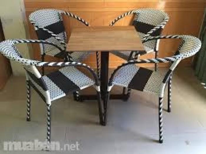 Bàn ghế nhựa giả mây dùng cho quán cafe giá rẻ nhất2
