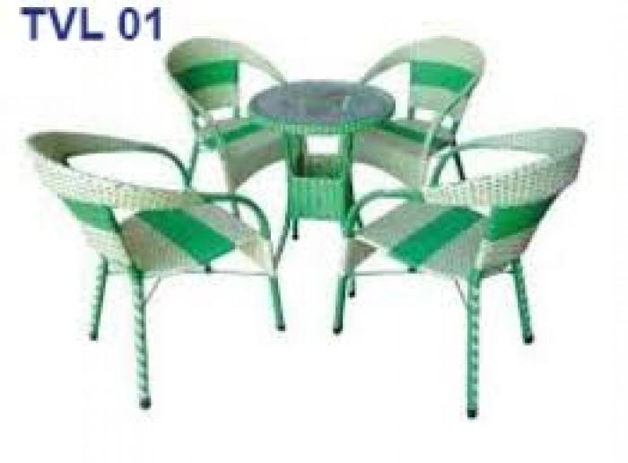 Bàn ghế nhựa giả mây dùng cho quán cafe giá rẻ nhất3