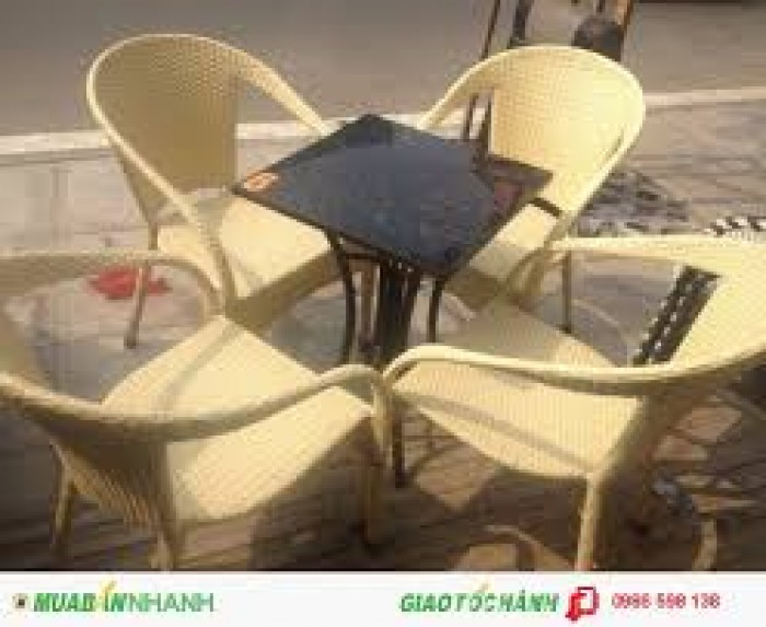 Bàn ghế nhựa giả mây dùng cho quán cafe giá rẻ nhất5