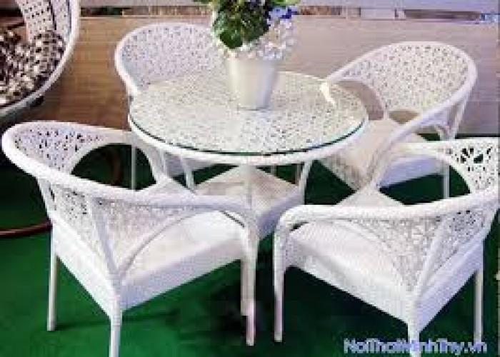 Bàn ghế nhựa giả mây dùng cho quán cafe giá rẻ nhất6