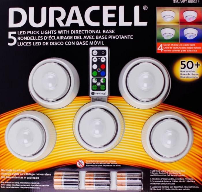 Bộ đèn Led đổi màu Duracell 5 Led Puck, điều khiển từ xa Bộ đèn sử dụng pin