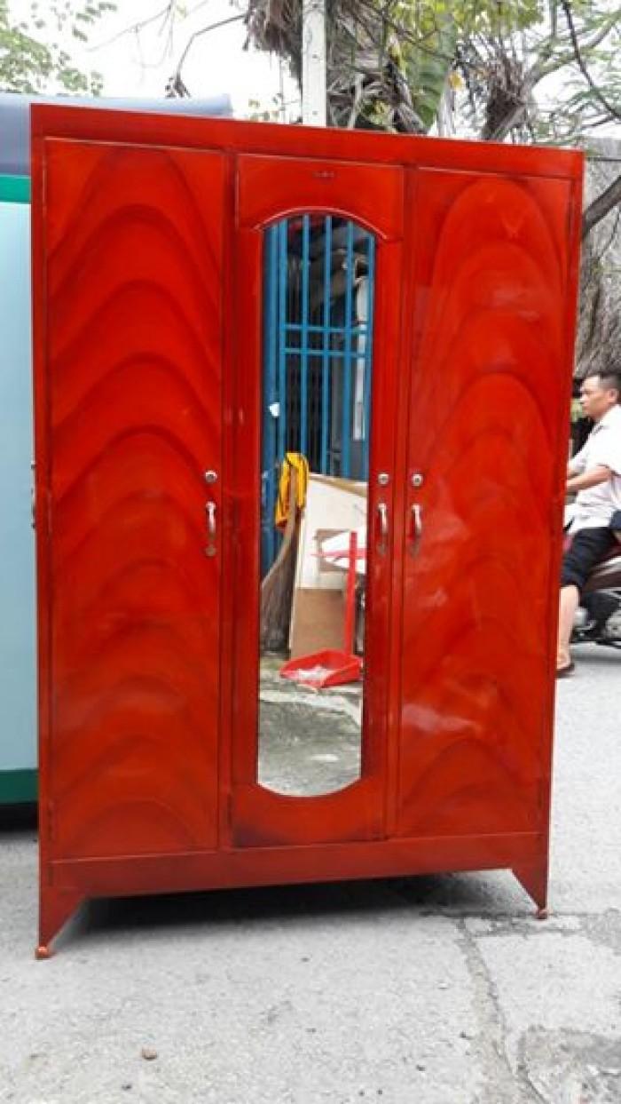 Tủ sắt treo quần áo 3 cánh ( ngang 1m2 cao 1m8 ), BH 12T. Giao hàng miễn phí HCM