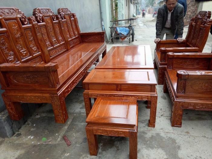 Bộ Bàn Ghế Kiểu Âu Á Hộp Như Ý Voi, Tay Đặc gỗ hương vân bộ 2m2 và 2m43