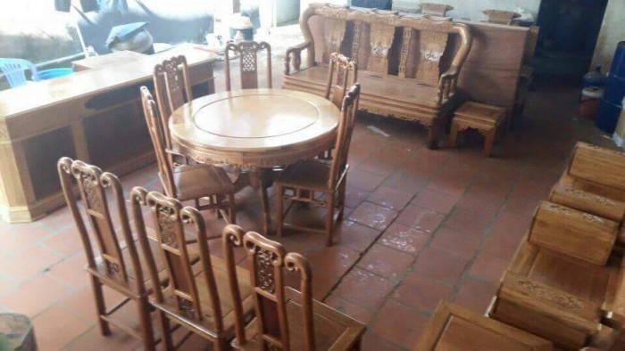 Bộ bàn ghế ăn kiểu bàn tròn gỗ gụ0
