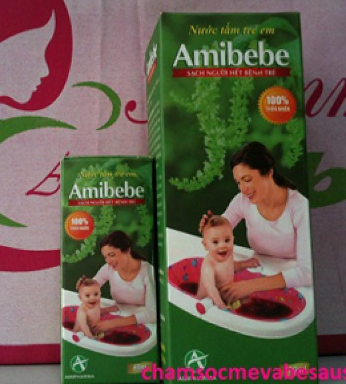 Nước Tắm Cho Em Bé Amibebe- Giúp hết rôm sảy, ăn ngủ tốt0