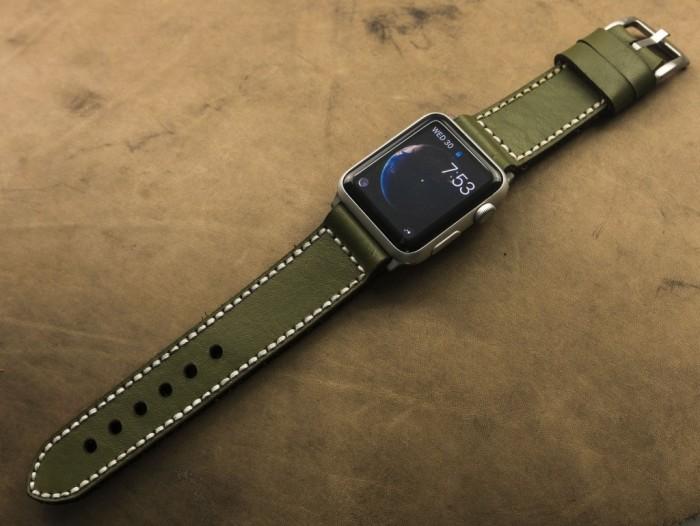 Dây đồng hồ da bò thật handmade của Thi Atelier0
