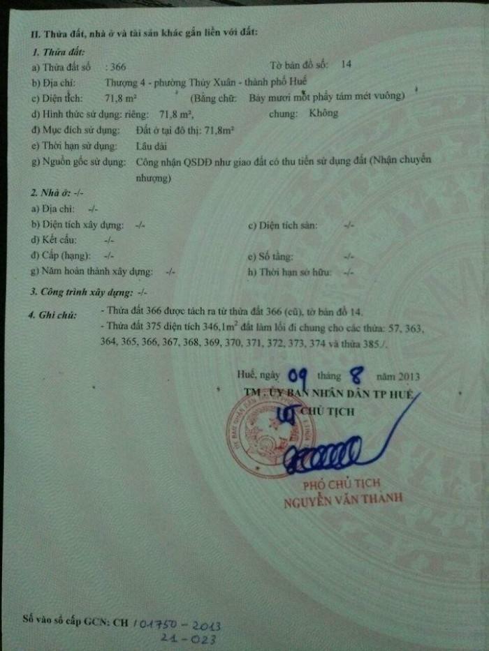 Bán Đất Kiệt Đường Hoài Thanh 275 triệu/ 72m2 Đối diện KQH Hoài Thanh.