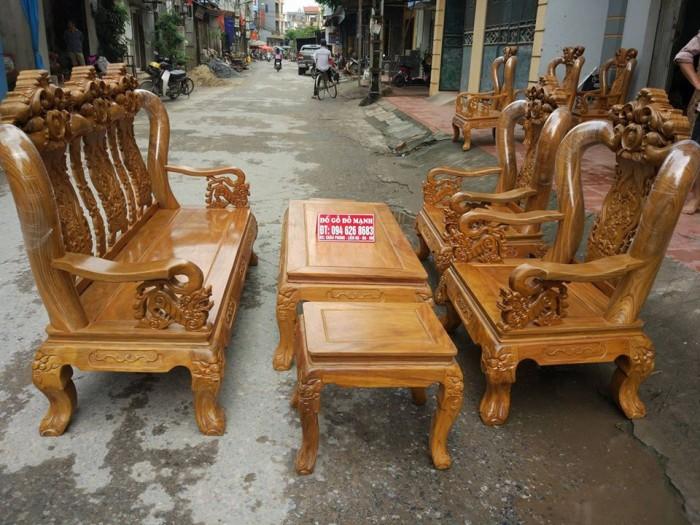 Bộ bàn ghế giả cổ hoa lá tây gỗ lim0
