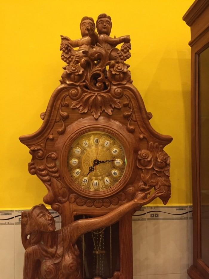 Đồng hồ cây (Tủ đứng) cô tiên gỗ hương-DH05