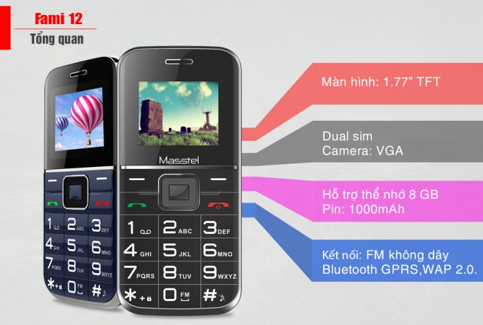Điện thoại phổ thông Masstel Fami 12 sở hữu thiết kế nhỏ gọn, bắt mắt, được thương hiệu Masstel trang bị các tính năng tốt, cực kỳ hữu ích0
