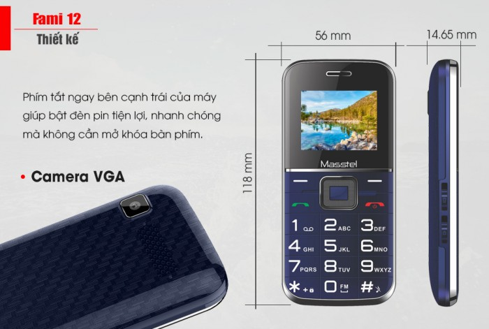 Hơn nữa, mặc dù chỉ nằm trong phân khúc feature phone nhưng Fami 12 vẫn được trang bị camera VGA tiện dụng, giúp bạn  chụp lại những tài liệu quan trọng, các văn bản, giấy tờ cần thiết trong công việc.2