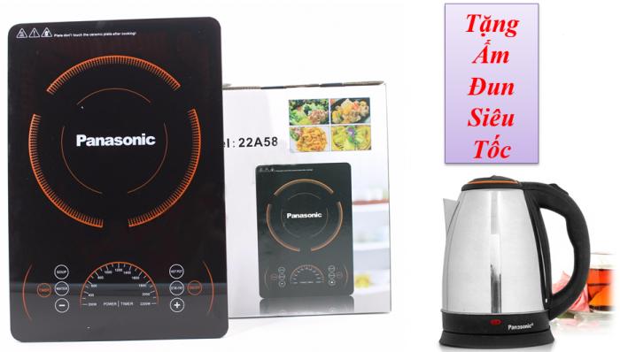 Bếp điện từ PANASONIC 22A58 tiêu chuẩn Châu Âu, công suất 2200W + Tặng Kèm Ấm Đun Siêu Tốc - MSN383214