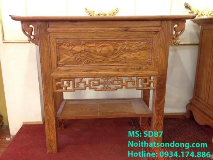 Bàn thờ nhà chung cư bông sen gỗ hương-SD87