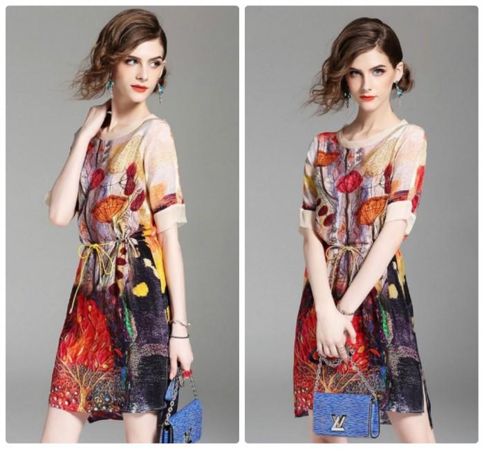 Đầm suông xẻ tà họa tiết rút eo cao cấp