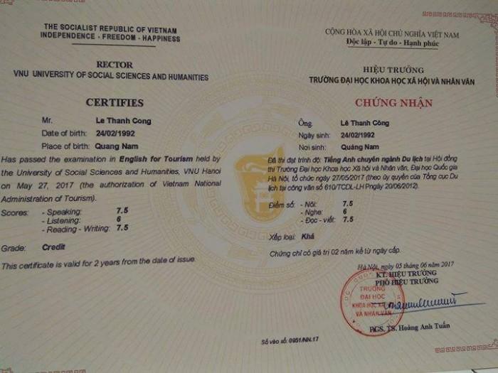Thi cấp chứng chỉ Ngoại ngữ du lịch xin cấp thẻ Hướng dẫn viên Đại học Khoa học Xã hội & Nhân văn Hà Nội Hotline: 0978 86 86 25