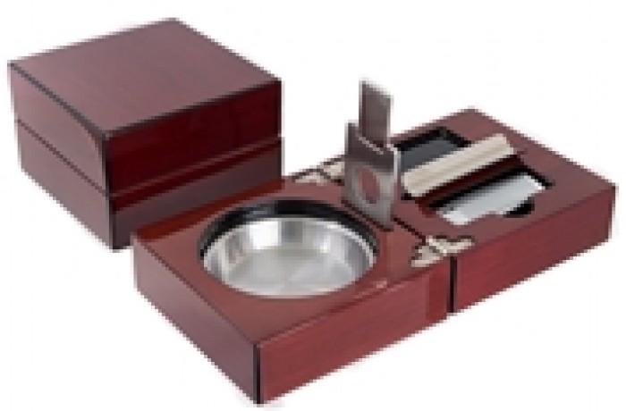 Gạt tàn xì gà - Bộ gạt tàn, bật lửa, dao cắt xì gà Mantello Folding Wood Cigar Ashtray Set Cherry Wood1