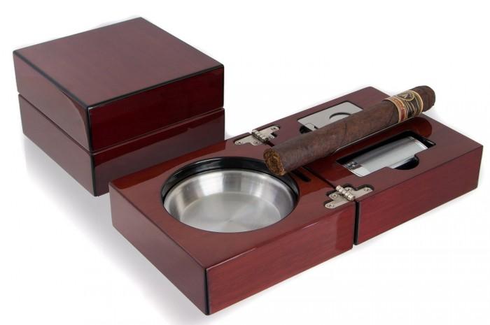 Gạt tàn xì gà - Bộ gạt tàn, bật lửa, dao cắt xì gà Mantello Folding Wood Cigar Ashtray Set Cherry Wood0
