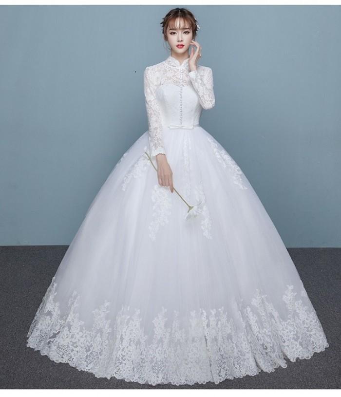 Mẫu váy cưới dài tay trang nhã mà vẫn vô cùng bắt mắt