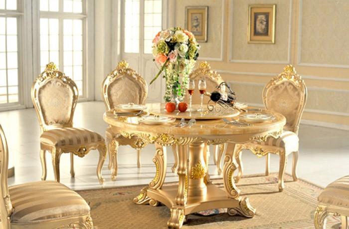 bộ bàn ăn tân cổ điển mạ vàng11