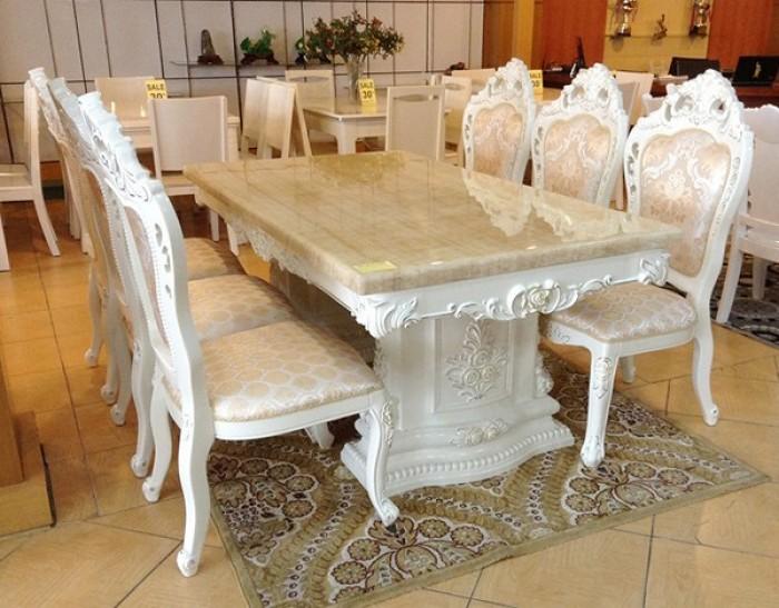 bàn ghế ăn tân cổ điển màu trắng14