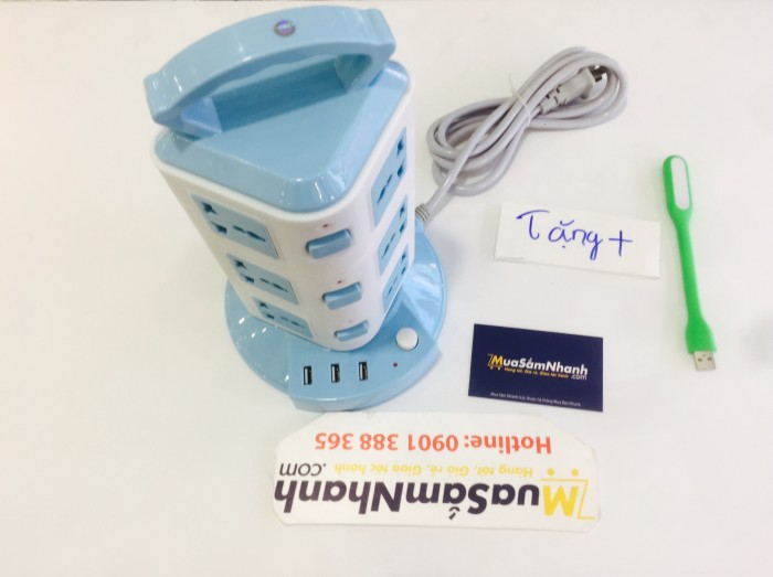 Ổ Điện 3 Tầng CX-312 Hỗ trợ 3 Cổng USB, 12 Ổ Cắm + Tặng Kèm Đèn Led - MSN383221