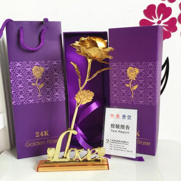 Hoa Hồng 3D Mạ Vàng LOVE0