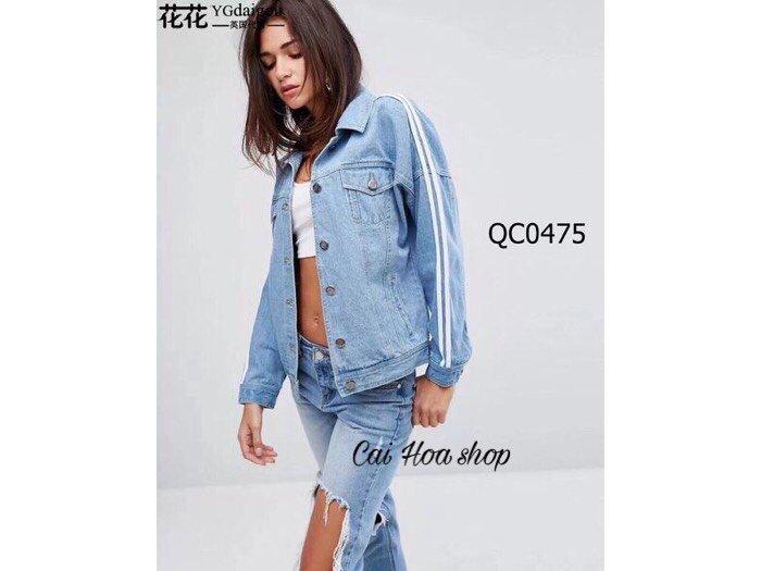 Áo Khoác Jeans chạy sọc ngang0