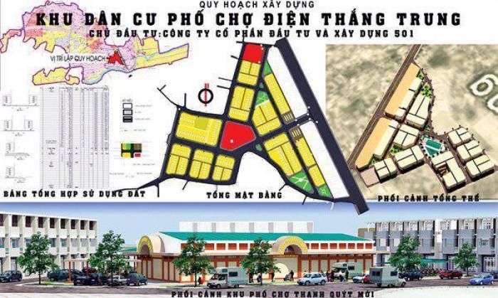 Đất phố chợ điện thắng trung-QN, sổ đỏ,đối diện chợ trung tâm, cạnh QL1A