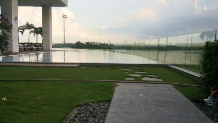 Biệt thự Pool Villa Quận 2, DT đất 465 m2, 1 trệt, 1 lầu, sân vườn 260m2, mặt tiền sông Sài Gòn