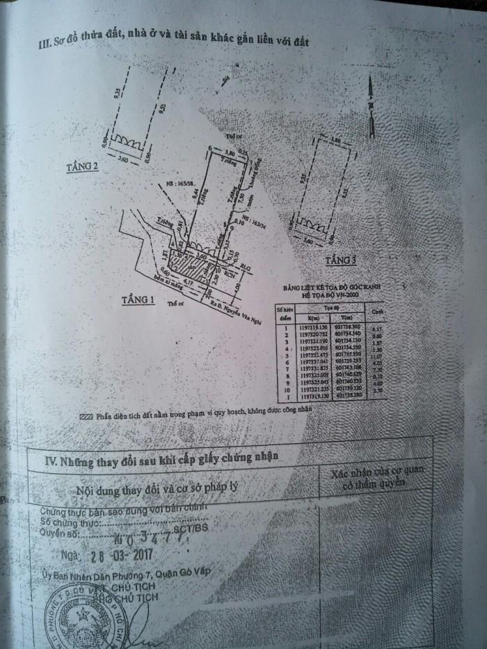 Bán Nhà hẻm 90 Đường số 6, phường 7, quận Gò Vấp, 3,6 x 10,2m, 1 Trệt + 2 Lầu