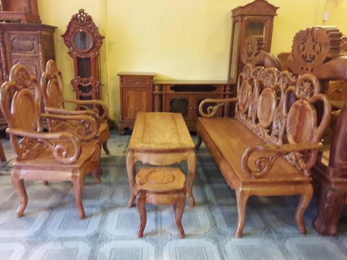 Bộ bàn ghế phòng khách triện nho gỗ hương - BBG110