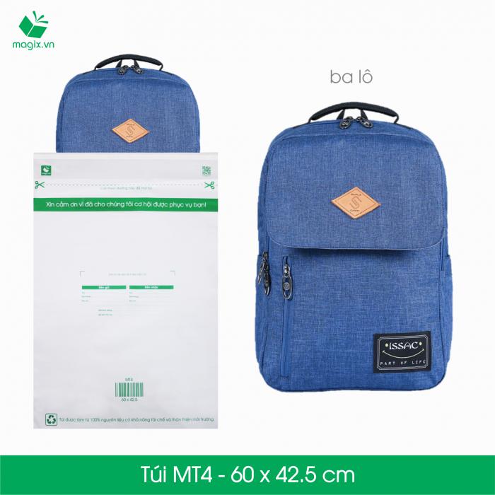 Túi nilon giao hàng được xem là sản phẩm đóng gói lý tưởng vì khả năng sử dụng đa dạng, hiệu quả và tiết kiệm chi phí so với hộp carton đóng gói. Túi nilon giao hàng cũng được sử dụng rộng rãi phục vụ cho nhu cầu của các doanh nghiệp như: đựng hồ sơ, catalogue, đặc biệt là trong thương mại điện tử và vận chuyển.  Các ưu điểm vượt trội của túi nilon đóng gói so với túi nilon thường  Tiện lợi & an toàn - Túi có sẵn đường băng keo nêm phong; chỉ cần tháo và dán. Thẩm mỹ và bền bỉ - Sản xuất bằng vật liệu nhựa trơn và bền giúp không bị nhăn và rách trong quá trình vận chuyển. Nhanh chóng - Bảng thông tin giao hàng (người gửi, người giao, địa chỉ giao hàng, giá trị đơn hàng...) được in sẵn trên túi Thân thiện môi trường - Túi được sản xuất từ nguyên liệu tái chế và có khả năng tự phân hủy. Túi nilon giao hàng dùng cho các sản phẩm sau:  Sản phẩm có tính đàn hồi: quần áo, thời trang, vải, da, nhựa dẻo… Sản phẩm đã có hộp cứng sẵn đi kèm. Sản phẩm không có các vật cạnh nhọn. Sản phẩm không có khả năng chịu ẩm và cần được chống thấm.  Đặc điểm kĩ thuật    Mã sản phẩm:  MT4   Kích thước:  60x45.5 cm   Độ dài miệng túi:  4.8 cm   Độ dài băng keo dán:  1.5 cm   Độ dày túi:  50micron +/-10%   Số lượng túi tối thiểu 1 lần đặt: 25 túi   Lưu ý: Túi nilon không được dùng để đóng gói hàng dễ vỡ (thủy tinh, có chứa chất lỏng, đồ điện tử...). Để bảo đảm an toàn cho các sản phẩm này, Magix đề xuất bạn nên sử dụng hộp carton đóng gói đã đạt chuẩn có sẵn trên website của Magix.1