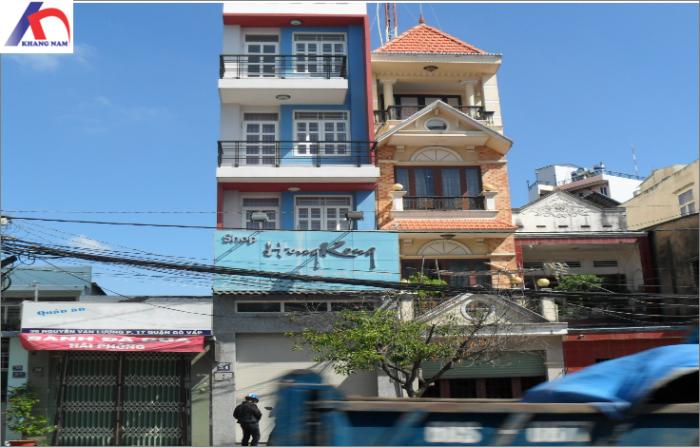 Cho thuê nhà góc 2MT Nguyễn Văn Lượng, Q.GV, (DT: 6x9m, 1 trệt, lửng, 4 lầu)