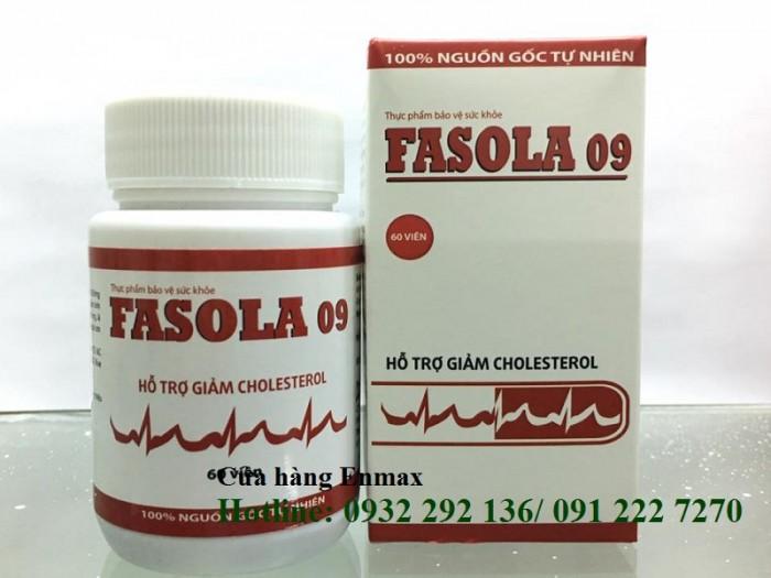 Fasola 09 với thành phần thảo dược hỗ trợ điều trị cholesterol trong máu, giúp hạ huyết áp, bền thành mạch. Thành phần thảo dược an toàn cho người sử dụng lâu dài, không gây tác dụng phụ, không gây nhờn thuốc, bảo vệ tạng. Hộp 60 viên. Giá bán: 166.000đ/ hộp. Liên hệ: 0932 292 136 để được giao hàng tận nơi trên toàn quốc0
