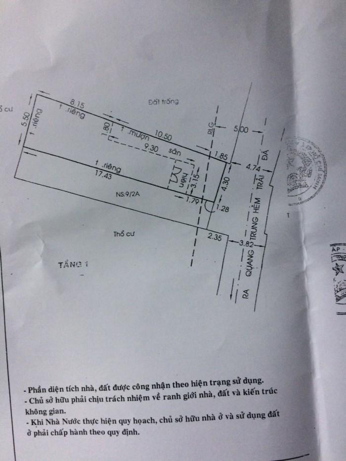 Bán Nhà hẻm 86, 1 sẹc Đường Số 14, Phường 8, quận Gò Vấp, 4,3 x 20,5m, Cấp 4, giá 3,35 tỷ