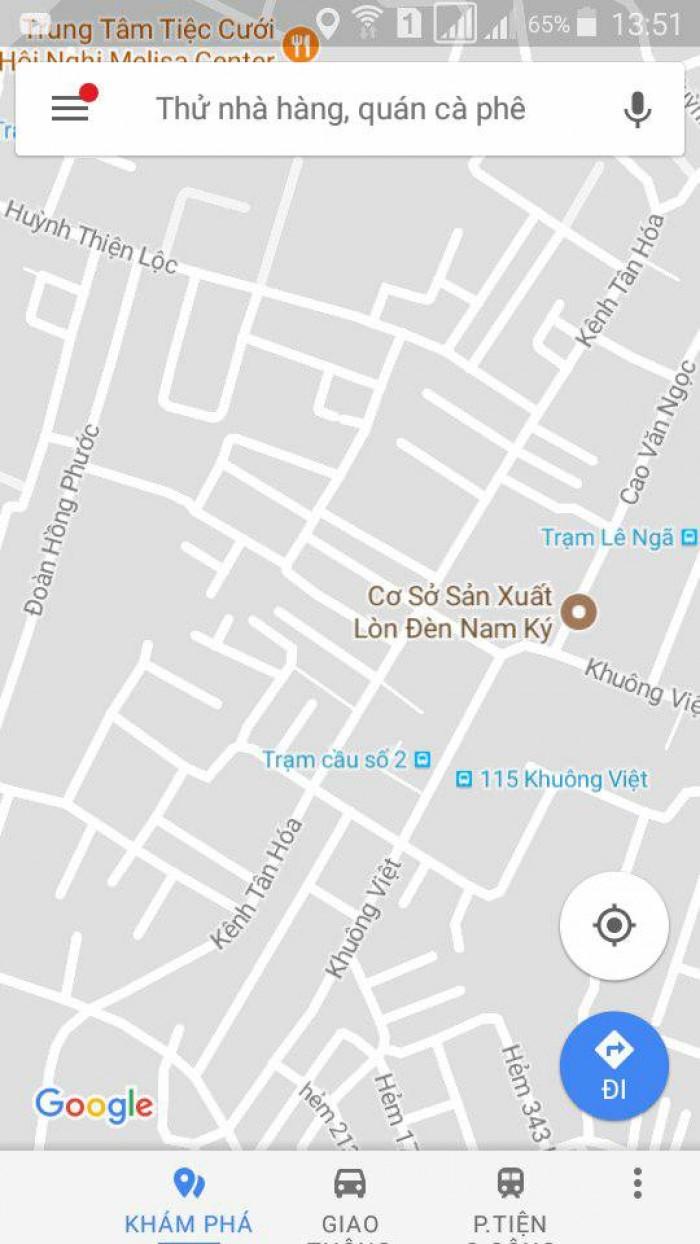 Bán nhà: Đường Kênh Tân Hóa, P.Phú Trung, Q.Tân Phú