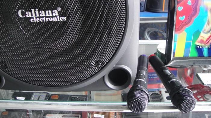 Loa kéo Caliana TO 12B Phụ kiện gồm có: 2 micro không dây, 1 remote và 1 dây nguồn sạc.2