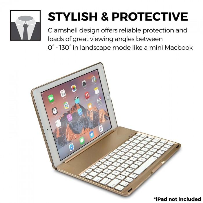 Bàn phím iPad Pro 10.5 Bluetooth kiêm ốp lưng F105 tích hợp đèn LED