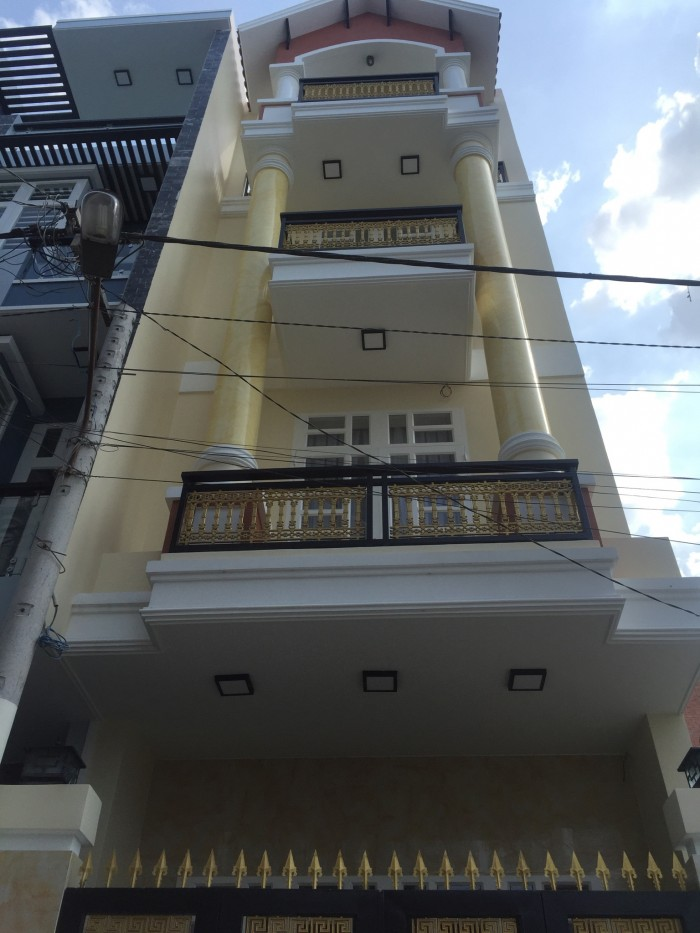 Bán nhà mới xây 3 lầu (4x14m) sau KDC Hồng long, đường Hiệp bình, HBC