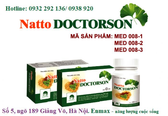 Natto doctorson với thành phần thảo dược, chiết xuất đậu tương lên men Nattokinase có tác dụng phá cục máu đông bền thành mạch, hoạt huyết, giúp ngủ ngon, hỗ trợ điều trị cho các trường hợp tai biến mạch não, phòng ngừa nguy cơ đột quỵ. Hộp 30 viên, giá bán: 108.000đ/ hộp