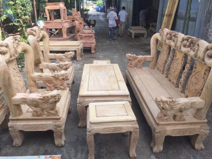 Bộ bàn ghế phòng khách gỗ gụ tay 12 trống ghê