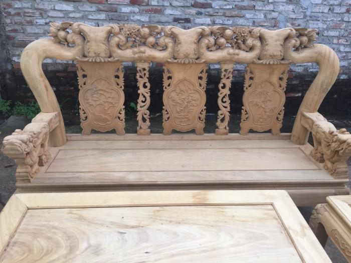 Bộ bàn ghế phòng khách gỗ gụ tay 12 trống ghê2