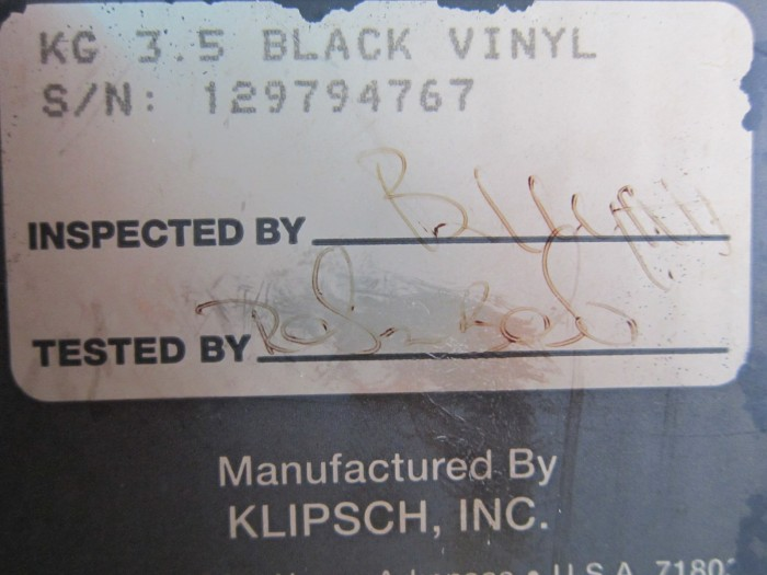 Loa Klípch Kg 3.5 (Made In Usa)0