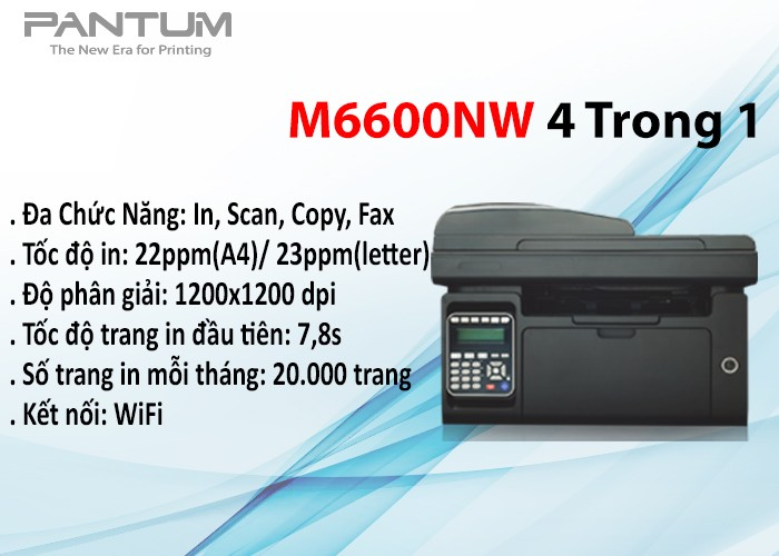 Máy in laser đơn sắc Pantum đa năng M6600NW