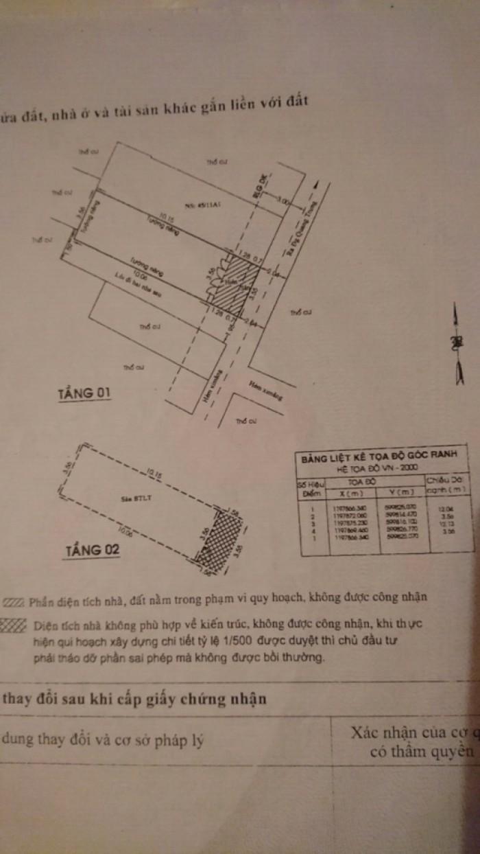 Bán Nhà Hẻm 58 Thống Nhất, phường 10, quận Gò Vấp, 3,6 x 12m, 1 Trệt + 1 Lầu, giá 2,15 tỷ
