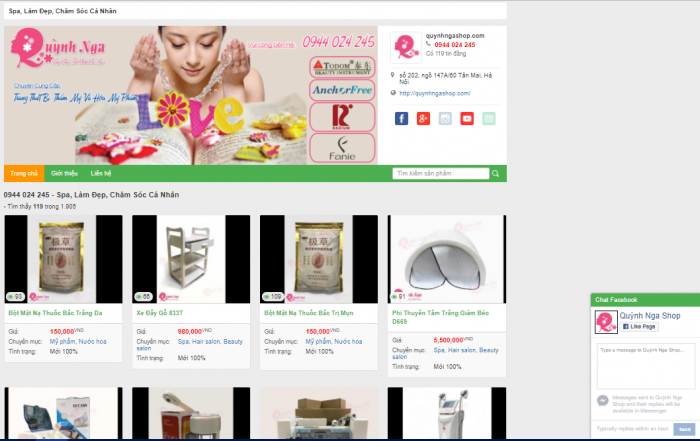 Giao diện website 0944024245.vipshop.vn
