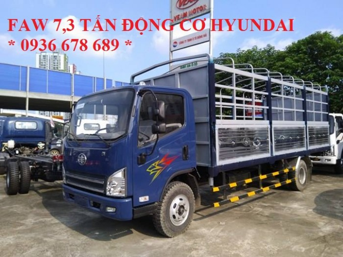 Xe tải thùng mui bạt Faw 7,3 tấn động cơ Hyundai,thùng dài 6,25m