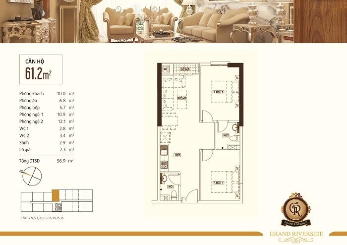 Bán căn hộ 2PN Grand Riverside, DT 61.2m2, lầu cao, view Bitexco Q1, đã VAT + 2% Phí Bảo Trì