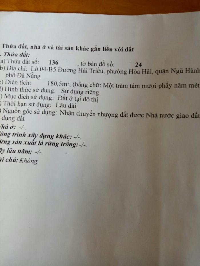 Bán Đất 2 mặt đường Hải Triều – Ngũ Hành Sơn – Đà Nẵng