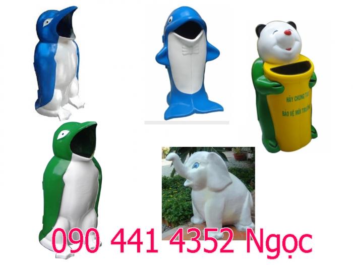 Thùng đựng rác hình cá heo, thùng đựng rác hình chim cánh cụt